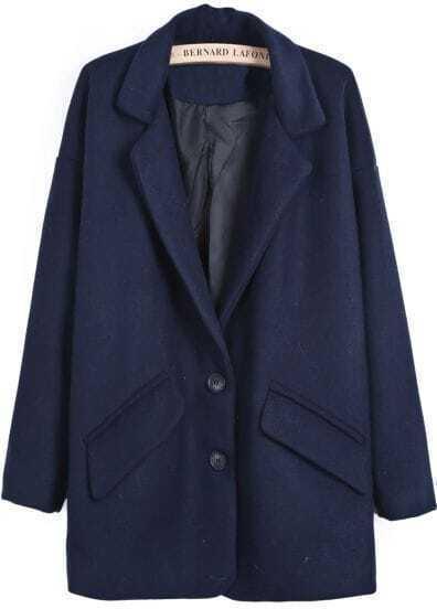 Blue Notch Lapel Long Sleeve Pockets Woolen Coat