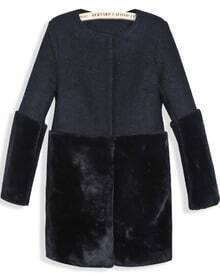 Black Contrast Faux Fur Long Sleeve Pockets Coat