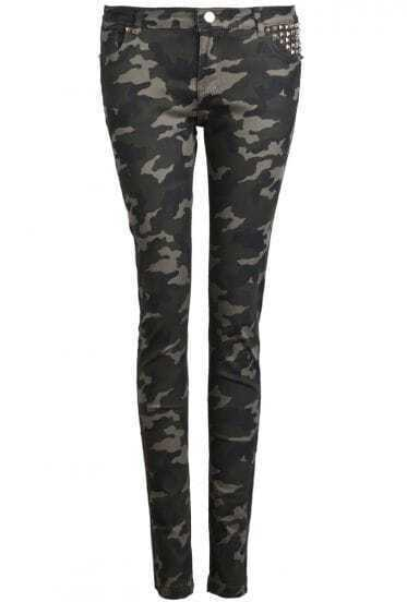 Green Camouflage Rivet Pockets Pant