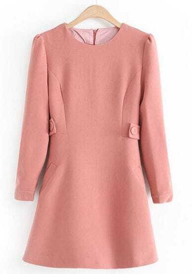 Pink Round Neck Long Sleeve Belt Slim Dress