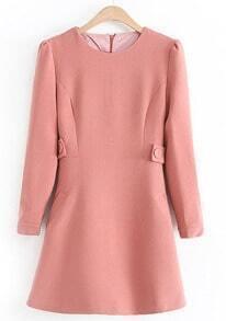 Pink Round Neck Long Sleeve Belt Slim Dress