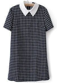 Black White Plaid Short Sleeve Bodycon Dress
