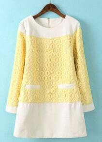 Yellow Long Sleeve Lace Embroidered Straight Dress