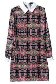 Pink Long Sleeve Vintage Floral Slim Dress