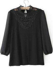Black Long Sleeve Contrast Lace Chiffon Blouse