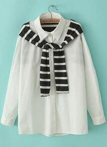 White Long Sleeve Striped Shawl Embellished Blouse