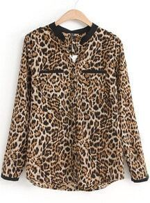 Leopard Stand Collar Long Sleeve Pockets Blouse