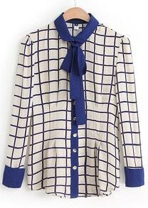 Blue White Plaid Long Sleeve Chiffon Blouse