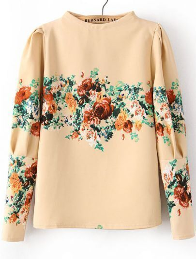Apricot Stand Collar Long Sleeve Floral Blouse