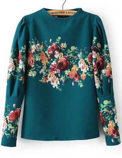 Green Stand Collar Long Sleeve Floral Blouse