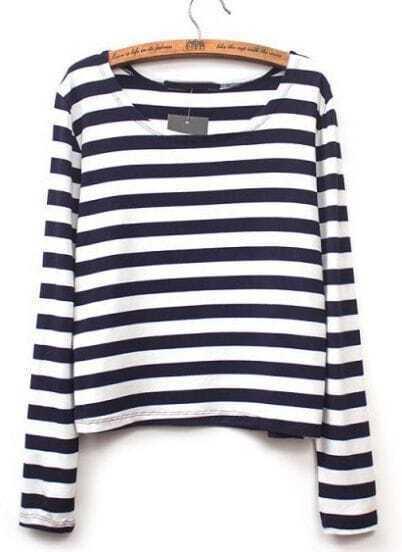 Black White Striped Long Sleeve Crop T-Shirt