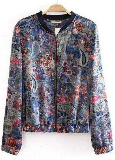 Blue Stand Collar Long Sleeve Floral Crop Jacket