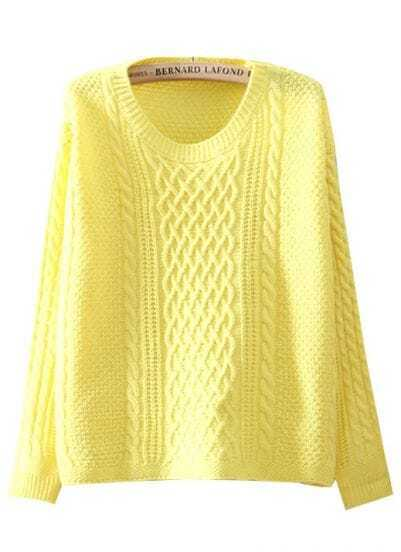 Yellow Long Sleeve Diamond Patterned Loose Sweater