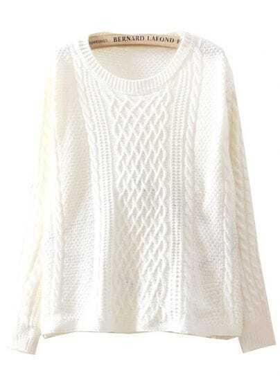Beige Long Sleeve Diamond Patterned Loose Sweater