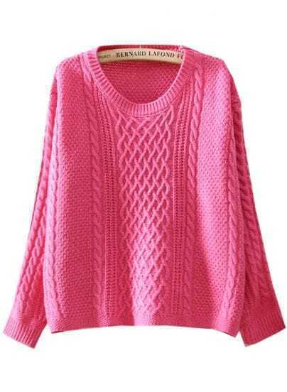 Rose Red Long Sleeve Diamond Patterned Loose Sweater