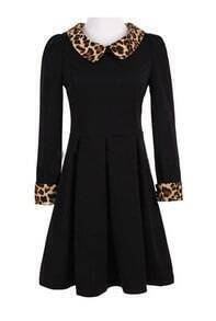 Black Contrast Leopard Lapel Long Sleeve Pleated Dress