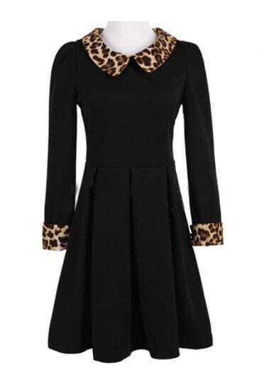 Black Contrast Leopard Lapel Long Sleeve Pleated Dress