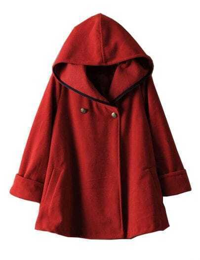 Red Hooded Long Sleeve Woolen Cape Coat