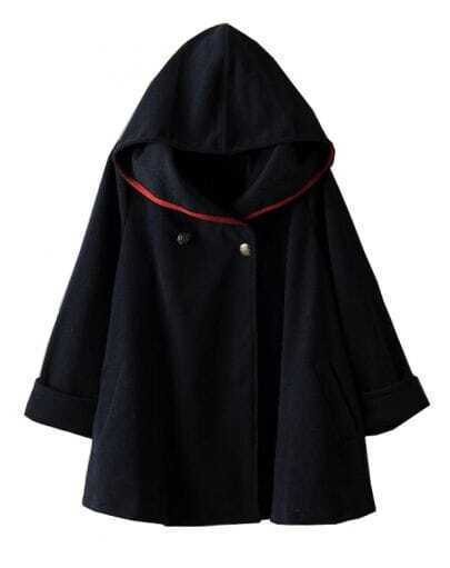 Navy Hooded Long Sleeve Woolen Cape Coat