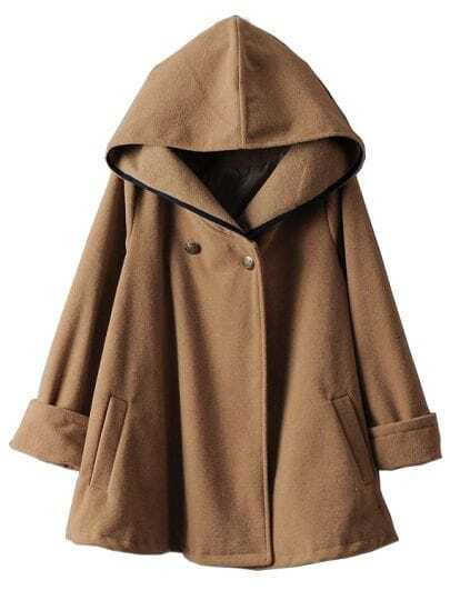 Camel Hooded Long Sleeve Woolen Cape Coat