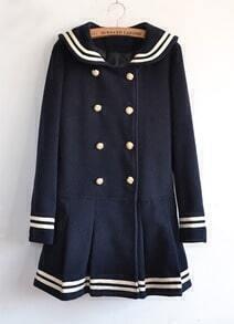 Navy Long Sleeve Double Breasted Bow Ruffle Coat