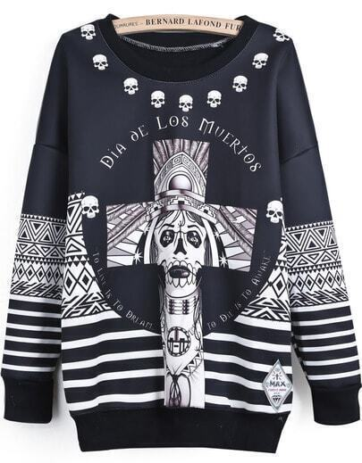 Black Long Sleeve Skull Cross Print Sweatshirt