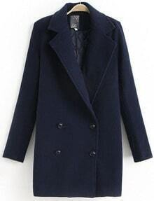 Navy Long Sleeve Lapel Double Breasted Coat