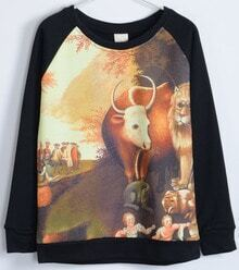 Black Long Sleeve Sheep Pattern Sweatshirt