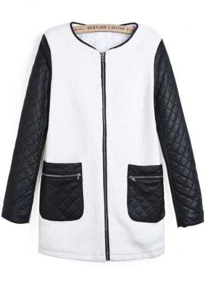 White Contrast PU Leather Diamond Patterned Coat