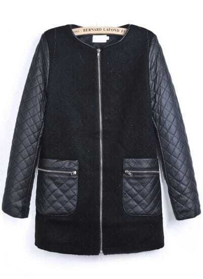 Black Contrast PU Leather Diamond Patterned Coat