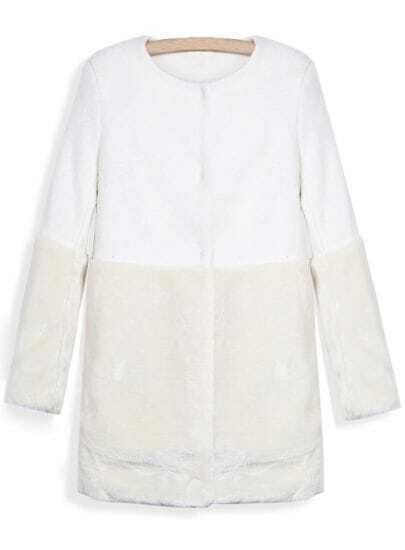 White Contrast Faux Fur Long Sleeve Pockets Coat