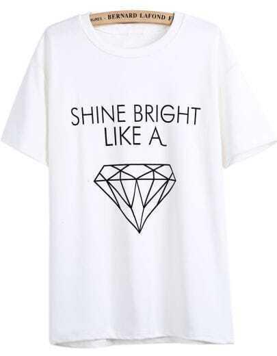 White Short Sleeve Letters Diamond Print T-Shirt