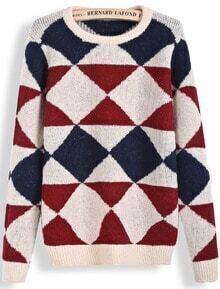 Apricot Long Sleeve Diamond Patterned Knit Sweater