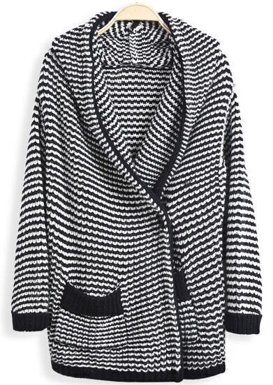 Black Hooded Long Sleeve Striped Pockets Cardigan