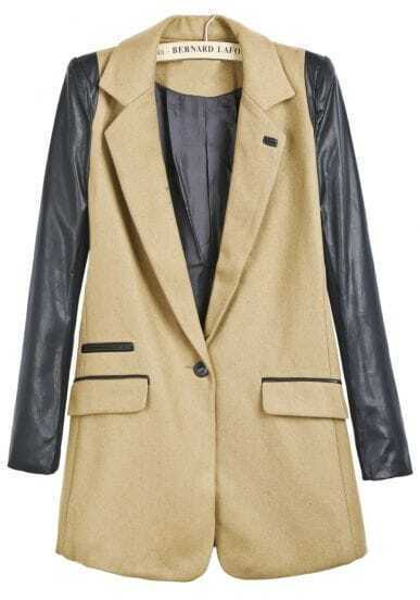 Khaki Contrast PU Leather Long Sleeve Woolen Coat