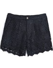 Black Embroidered Lace Straight Shorts