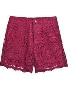 Red Embroidered Lace Straight Shorts