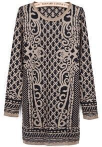 Black Gold Long Sleeve Diamond Patterned Sweater Dress