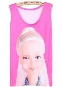 Pink Sleeveless Beauty Lollipop Print Vest