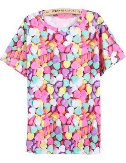 Multi Short Sleeve Hearts Candy Print T-Shirt