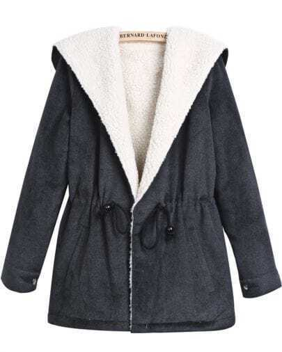 Grey Hooded Long Sleeve Drawstring Wool Coat