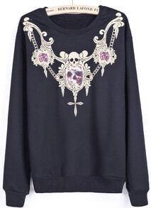 Black Long Sleeve Skull Embroidered Sweatshirt