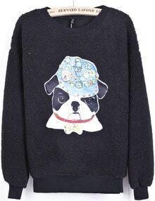 Black Long Sleeve Bead Dog Print Sweatshirt