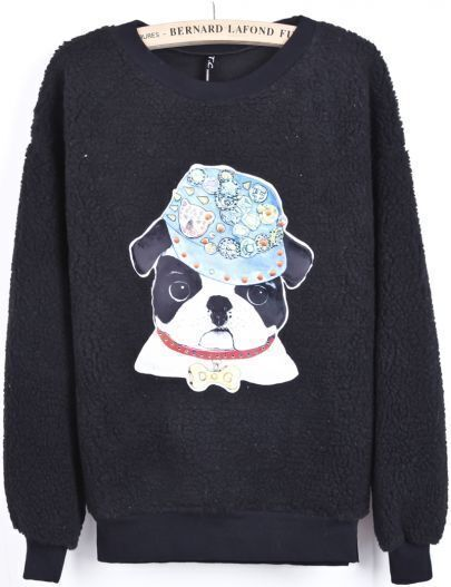 Black Long Sleeve Bead Dog Print Sweatshirt