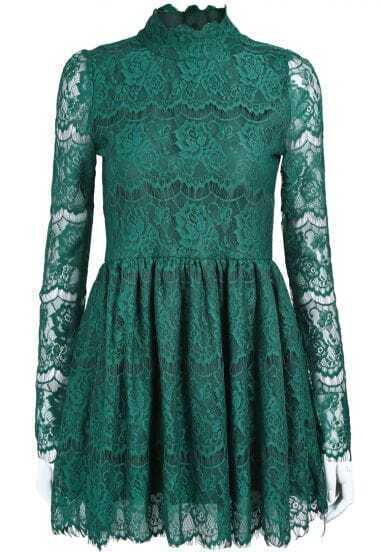Green Stand Collar Long Sleeve Lace Pleated Dress