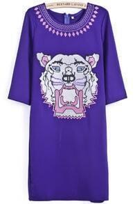 Purple Half Sleeve Tiger Embroidered Dress