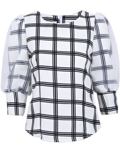 White Sheer Long Sleeve Plaid Blouse