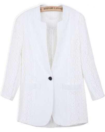 White Long Sleeve Contrast Lace Slim Blazer