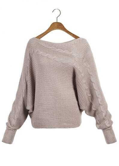 Khaki Batwing Sleeve Asymmetric Cable Knit Sweater