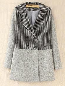 Grey Long Sleeve Contrast Houndstooth Pattern Woolen Coat